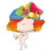 • Juanita Banana • Walltattoo d'une Pin-up émancipée pour un effeuillage burlesque coloré