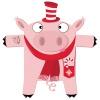 Sticker Mister Pig, le cochon rose et tatoué, en habit de fête pour Noël