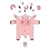"""Sticker repositionnable """"Mister Pig"""" - Fourni avec ses gommettes (7 saucissons/3 éclairs/1 ressort) à disposer librement"""