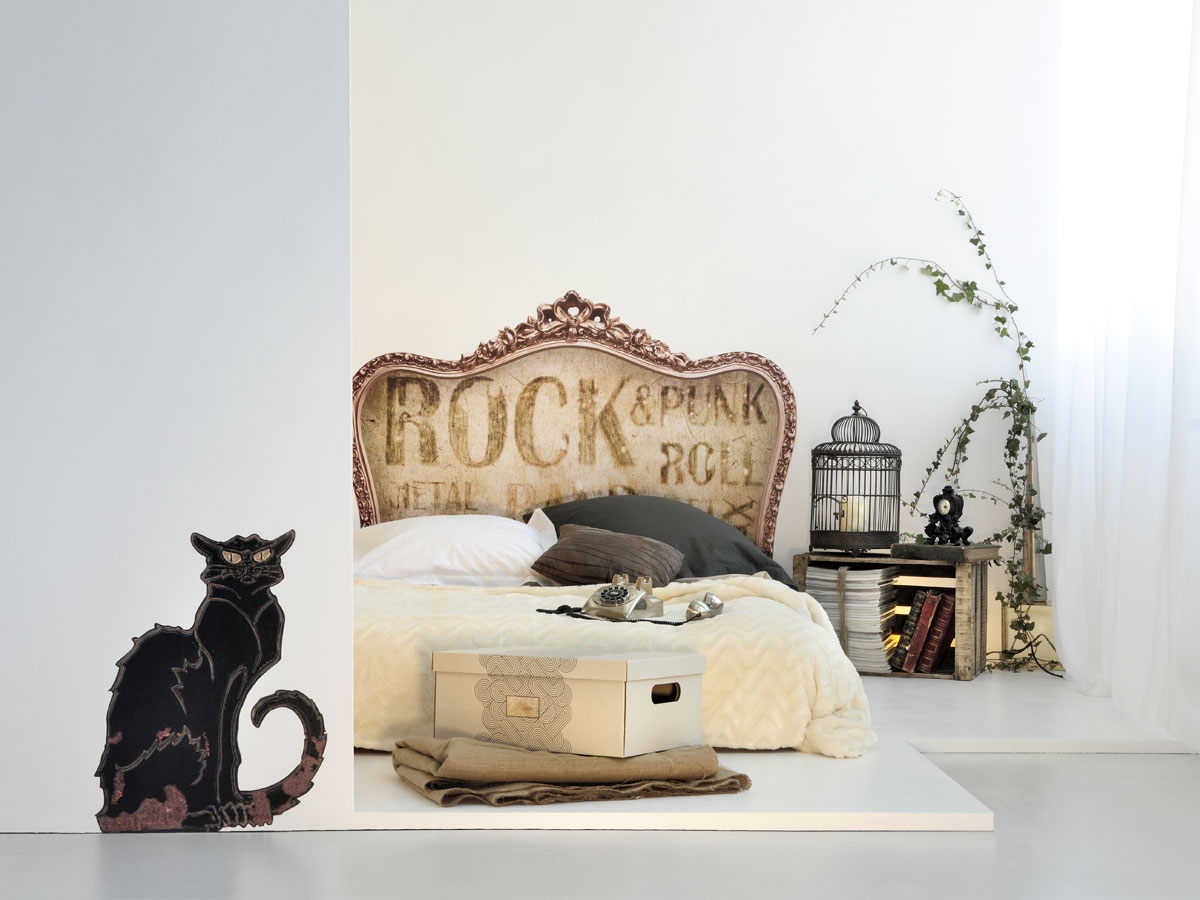 t te de lit vintage retro rock punk version sticker et. Black Bedroom Furniture Sets. Home Design Ideas