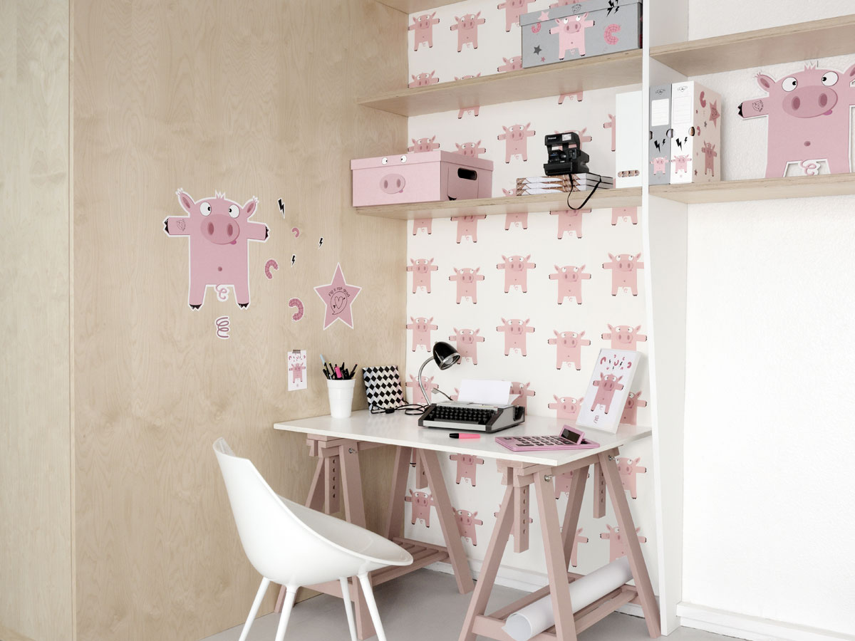 sticker tatouage toile rose pour chambre ou bureau enfant. Black Bedroom Furniture Sets. Home Design Ideas