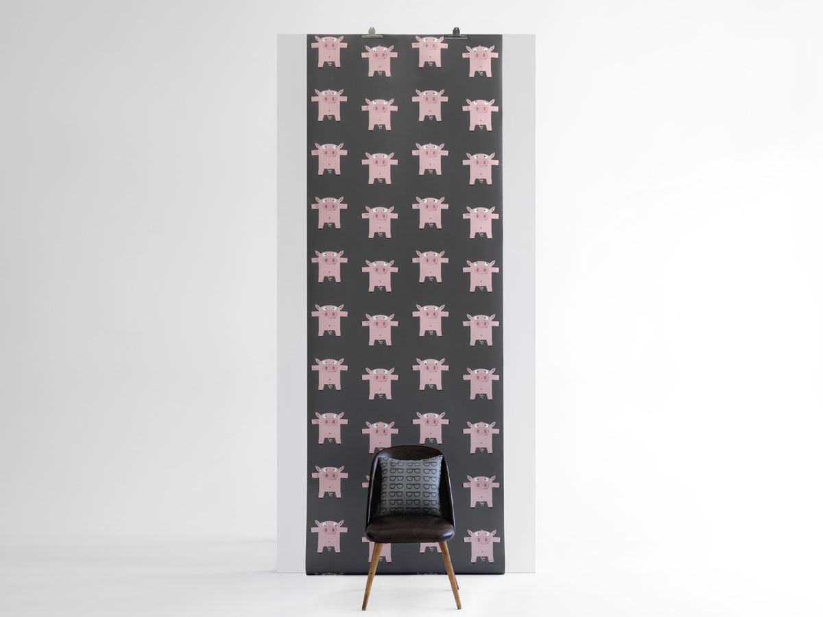 papier peint d jant pour bureau ou chambre enfant cochon rose tatou. Black Bedroom Furniture Sets. Home Design Ideas