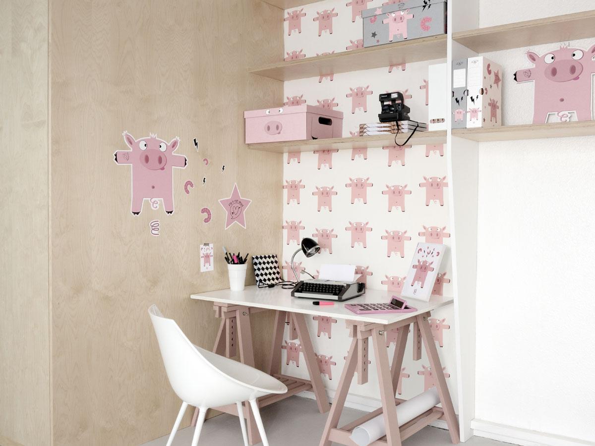 Papier Peint Pour Bureau papier peint déjanté pour bureau ou chambre enfant cochon